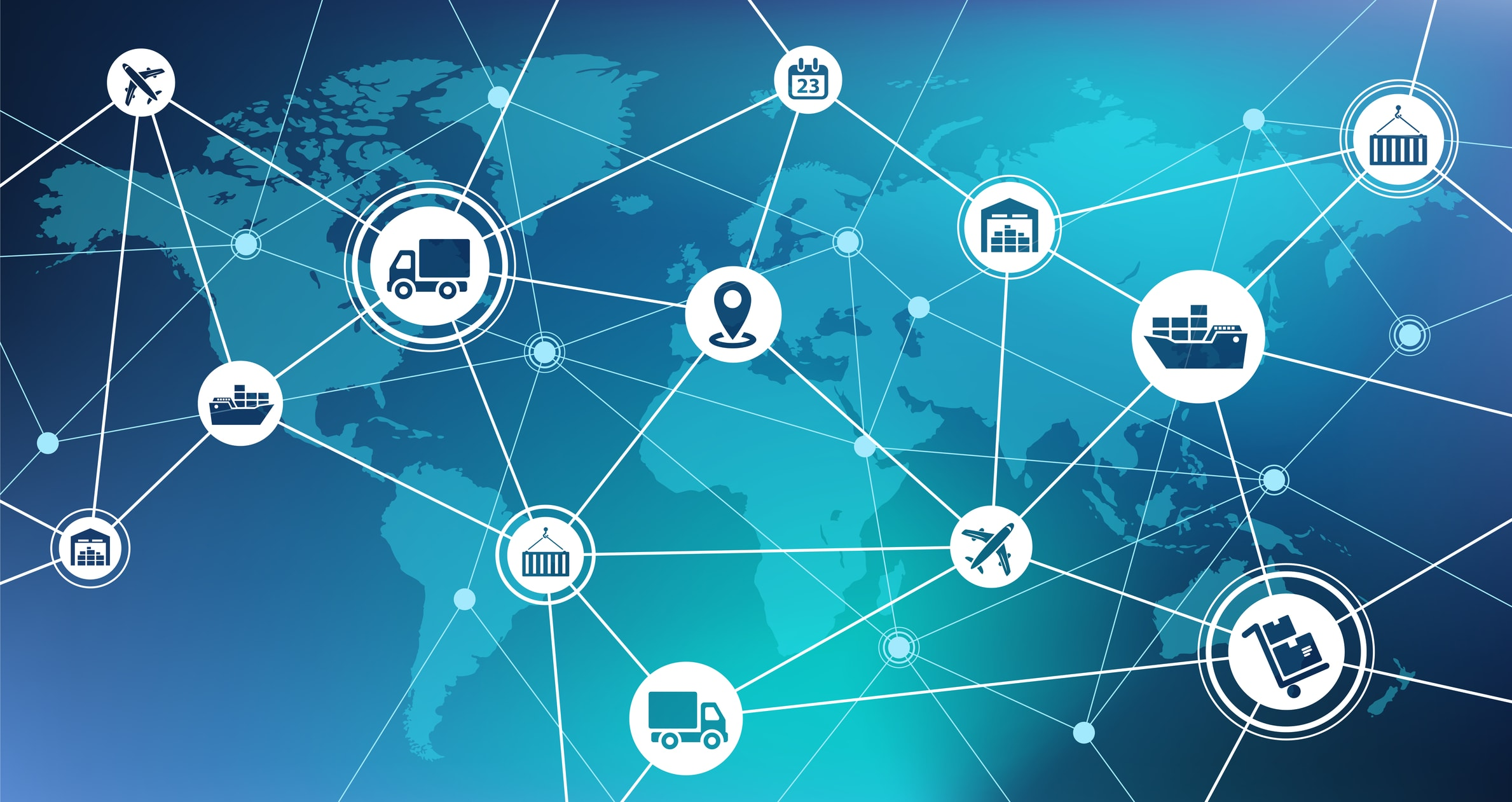 Graphic representation of a global supply chain